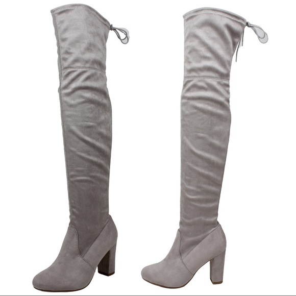 2e522a6ff6a5 Grey Over the knee back tie block heel boot